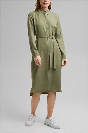 Esprit γυναικείο midi φόρεμα σεμιζιέ με ζώνη στη μέση