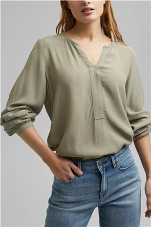 Esprit γυναικεία μπλούζα μονόχρωμη με V λαιμόκομψη