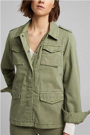 Esprit γυναικείο jacket μονόχρωμο με flap τσέπες