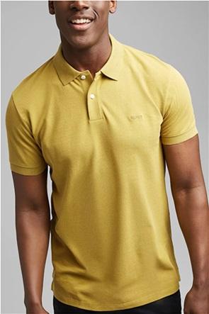 Esprit ανδρική πόλο μπλούζα μονόχρωμη με κεντημένο λογότυπο στο στήθος