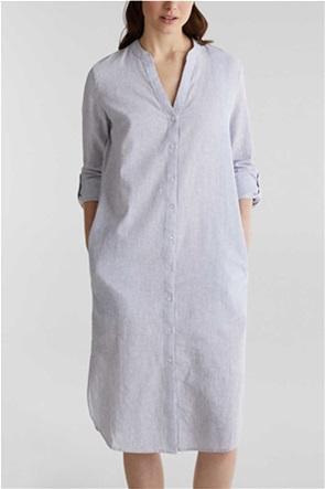 Esprit γυναικείο midi λινό φόρεμα σεμιζιέ με λεπτές ρίγες