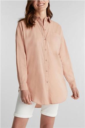 Esprit γυναικείο βαμβακερό πουκάμισο μονόχρωμο