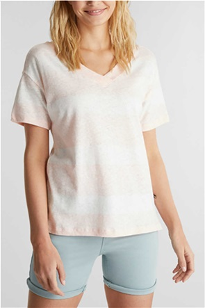 Esprit γυναικείο T-shirt με V λαιμόκοψη και ρίγες