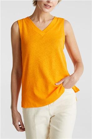 Esprit γυναικεία λινή μπλούζα αμάνικη με V λαιμόκοψη