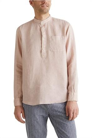 Esprit ανδρική μπλούζα λινή με απλικέ τσέπη στο στήθος και μάο γιακά