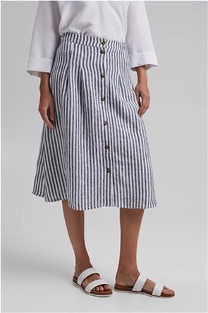Esprit γυναικεία midi φούστα ριγέ με κουμπιά