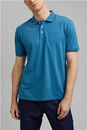 Esprit ανδρική πόλο μπλούζα μονόχρωμη με κεντημένο λογότυπο