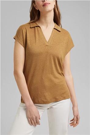 Esprit γυναικεία μπλούζα λινή με V λαιμόκοψη και γιακά