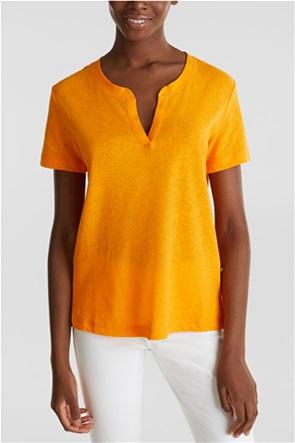 Esprit γυναικεία μπλούζα μονόχρωμη με άνοιγμα στη λαιμόκοψη