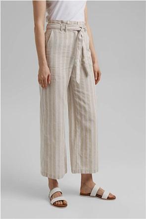 Esprit γυναικεία λινή παντελόνα cropped με ριγέ σχέδιο