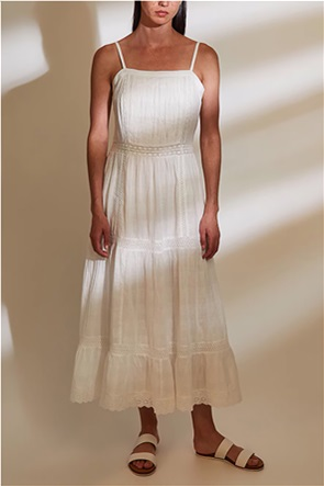 Esprit γυναικείο midi φόρεμα με δαντέλα κιπούρ και λεπτές τιράντες