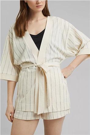 Esprit γυναικείο κιμονό με ριγέ σχέδιο και ζώνη στη μέση