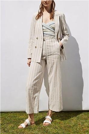 Esprit γυναικείο blazer με σταυρωτό κούμπωμα και ριγέ σχέδιο