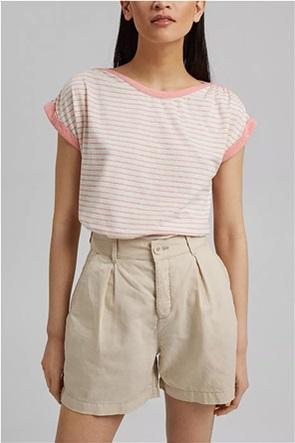 Esprit γυναικείο T-shirt με ριγέ σχέδιο και ρεβέρ στο μανίκι