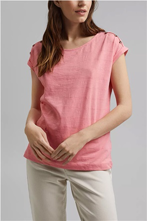 Esprit γυναικείο T-shirt με απλικέ κουμπιά στους ώμους