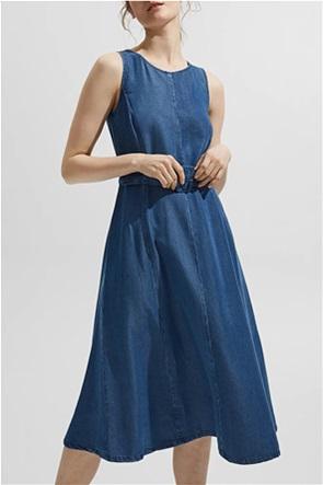 Esprit γυναικείο denim φόρεμα αμάνικο με ζώνη