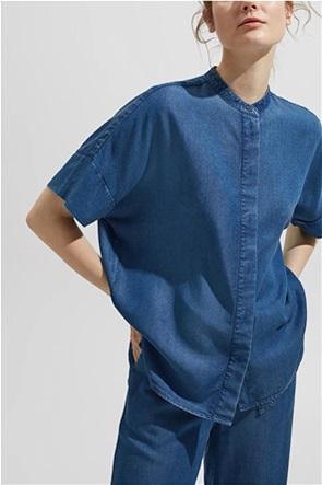 Esprit γυναικείο denim πουκάμισο με μάο γιακά