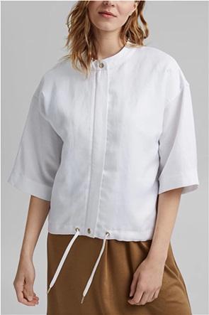 Esprit γυναικείο μπουφάν με μανίκι 3/4 και δέσιμο στο τελείωμα
