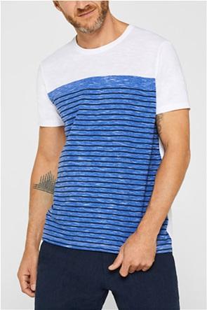 Esprit ανδρικό T-shirt με ριγέ print μπροστά
