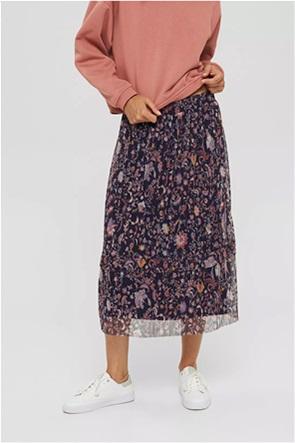 Esprit γυναικεία midi φούστα πλισέ με floral print