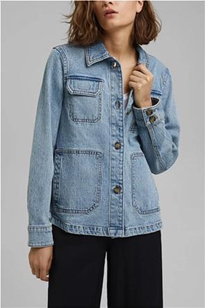 Esprit γυναικείο denim jacket με flap τσέπες και μεταλλικά κουμπιά