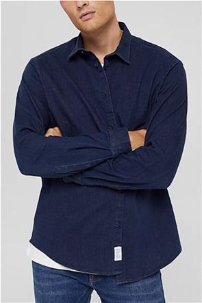 Esprit ανδρικό denim πουκάμισο button up μονόχρωμο