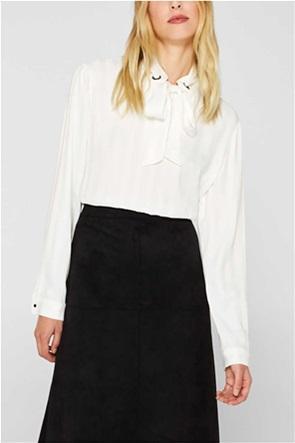 Esprit γυναικεία μπλούζα μακρυμάνικη με δέσιμο στο λαιμό