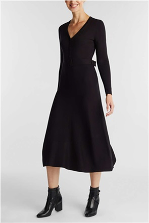 Esprit γυναικείο midi φόρεμα πλεκτό flared μονόχρωμο