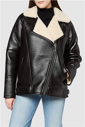 Esprit γυναικείο jacket faux leather με γούνα