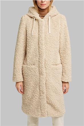 Esprit γυναικείο παλτό μπουκλέ μονόχρωμο με κουκούλα