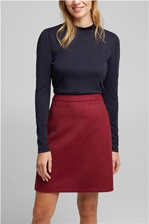 Esprit γυναικεία μπλούζα μονόχρωμη με puff μανίκια