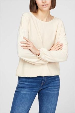 Esprit γυναικεία μπλούζα μονόχρωμη με στρογγυλή λαιμόκοψη