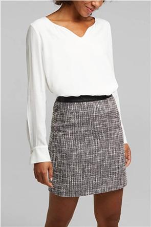 Esprit γυναικεία μπλούζα μονόχρωμη με V λαιμόκοψη