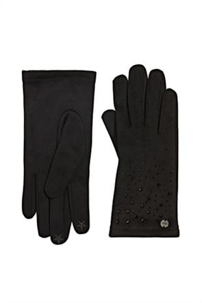 Esprit γυναικεία γάντια μονόχρωμα με διακοσμητικά στρας