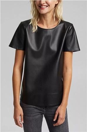 Esprit γυναικείο T-shirt με faux leather