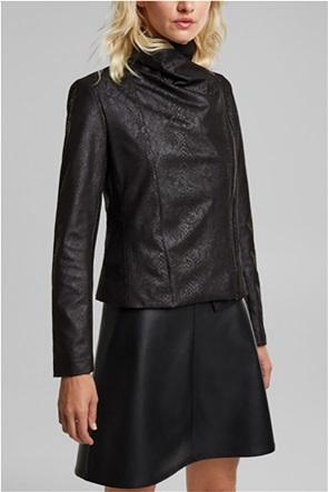 Esprit γυναικείο jacket faux leather με snake print