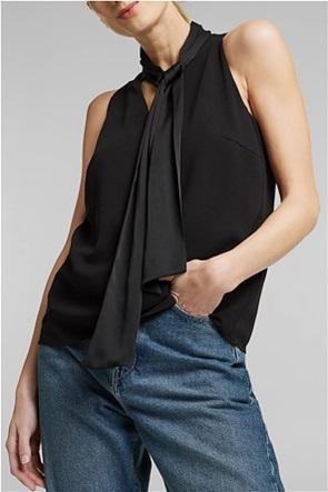 Esprit γυναικεία μπλούζα αμάνικη με σατέν φιόγκο