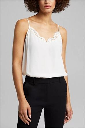 Esprit γυναικεία μπλούζα μονόχρωμη με λεπτές τιράντες