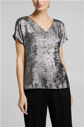 Esprit γυναικεία μπλούζα μεταλλιζέ με V λαιμόκοψη