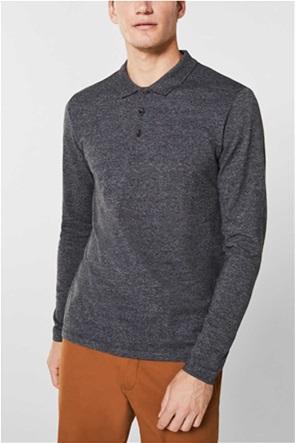 Esprit ανδρική πόλο μπλούζα μονόχρωμη μελανζέ
