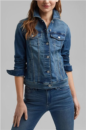 Esprit γυναικείο denim jacket με flap τσέπες