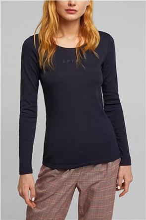 Εsprit γυναικεία μπλούζα μακρυμάνικη με λογότυπο από στρας