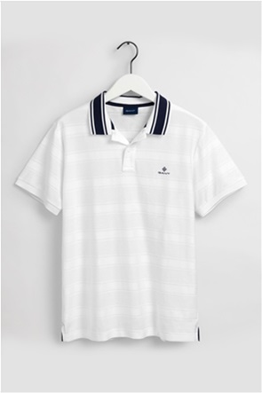 Gant ανδρική πόλο μπλούζα με ανάγλυφες ρίγες και contrast λεπτομέρειες