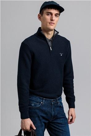 """Gant ανδρική πλεκτή μπλούζα  με ανάγλυφο σχέδιο και φερμουάρ 1/2  """"Texture troyer"""""""