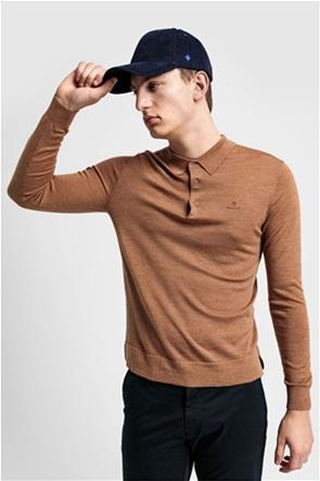 Gant ανδρική πλεκτή πόλο μπλούζα μονόχρωμη