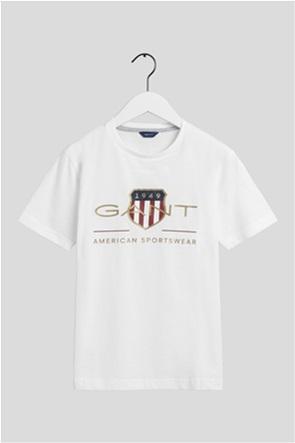"Gant παιδικό T-shirt μονόχρωμο με logo print ""Teens Archive Shield"""