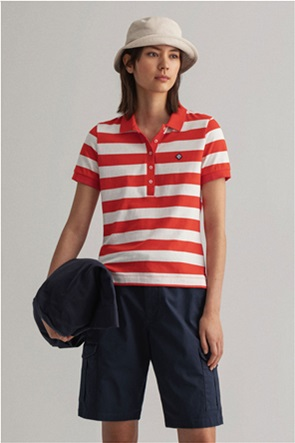Gant γυναικεία πόλο μπλούζα με ριγέ σχέδιο και κεντημένο logo