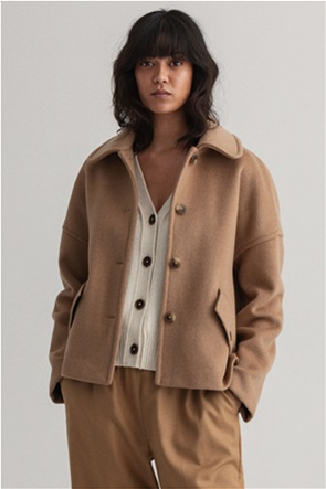 "Gant γυναικείο κασμηρένιο jacket μονόχρωμο ""Boxy Fit"""