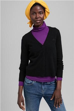 Gant γυναικεία πλεκτή ζακέτα μονόχρωμη με V λαιμόκοψη
