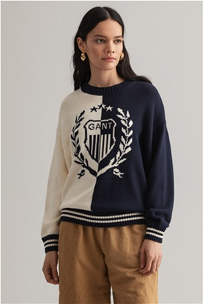 Gant γυναικείο πουλόβερ με κεντημένο logo colourblocked ''Crest''